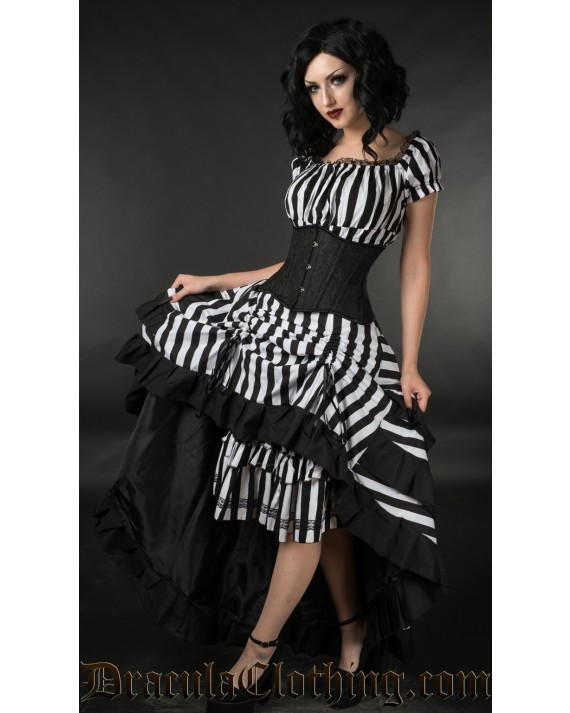 Striped Bustle Layer Skirt