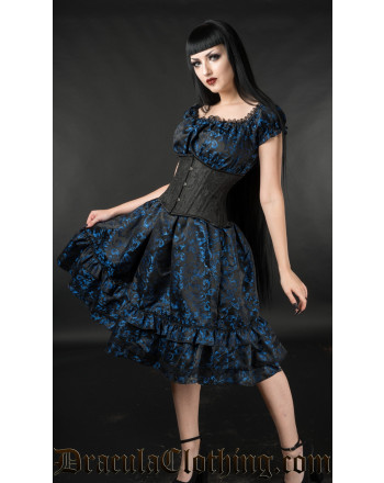 Blue Brocade Gothabilly Dress