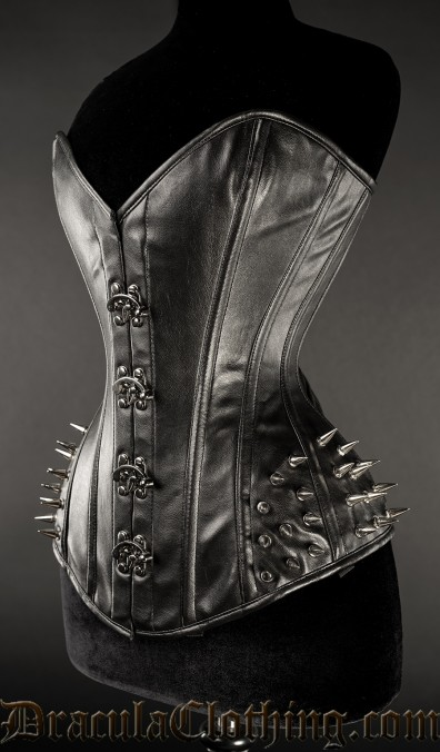 Faux Leather Bust Clasp Spike Corset