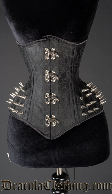 Black Brocade Extreme Waist Clasp Spike Corset