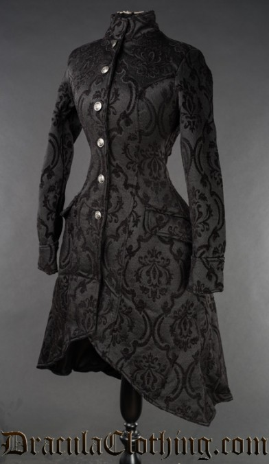 Black Brocade Autumn Coat
