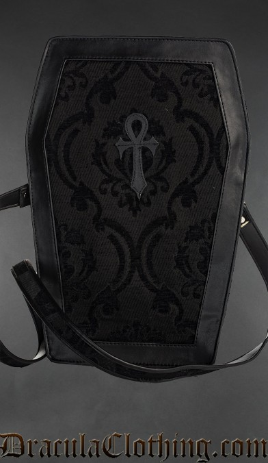 Black Brocade Big Ankh Coffin Bag