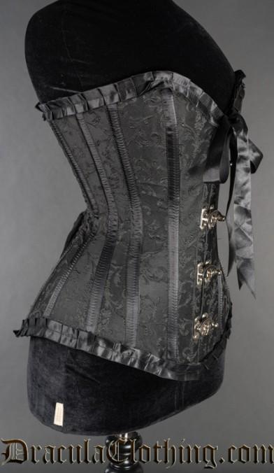 Black Brocade Romantic Clasp Corset