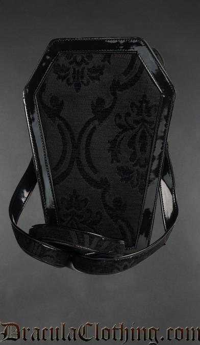 Black Brocade Coffin Bag