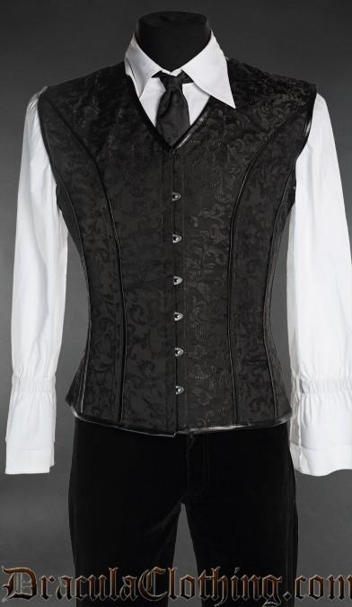 Black Brocade Corset Vest