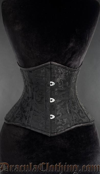 Black Brocade Double Boned Waist Cincher