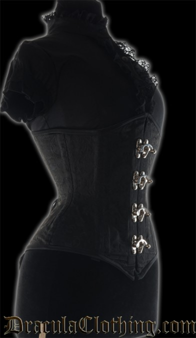 Black Brocade Extreme Waist Clasp Corset