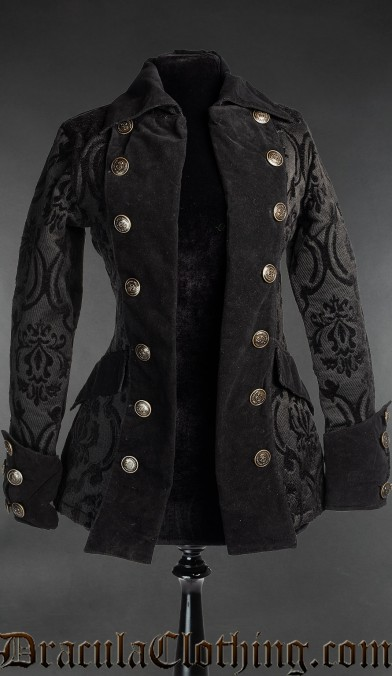 Black Brocade Female Pirate Jacket