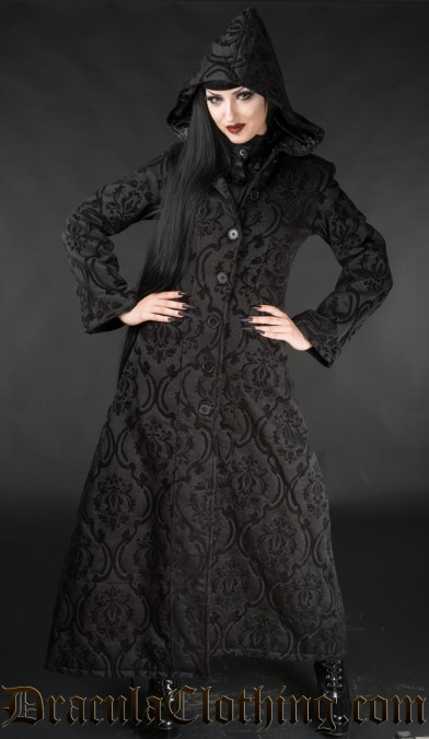 Black Brocade Hooded Coat