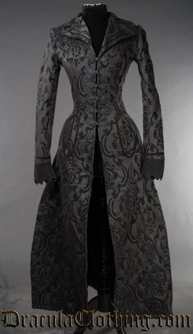 Black Brocade Long Ives Coat