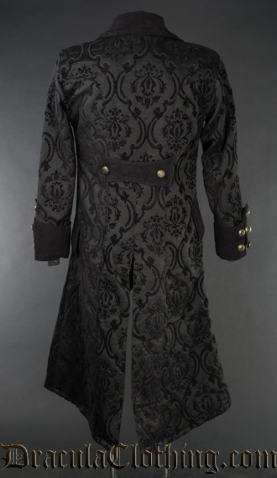 Black Brocade Long Pirate Coat