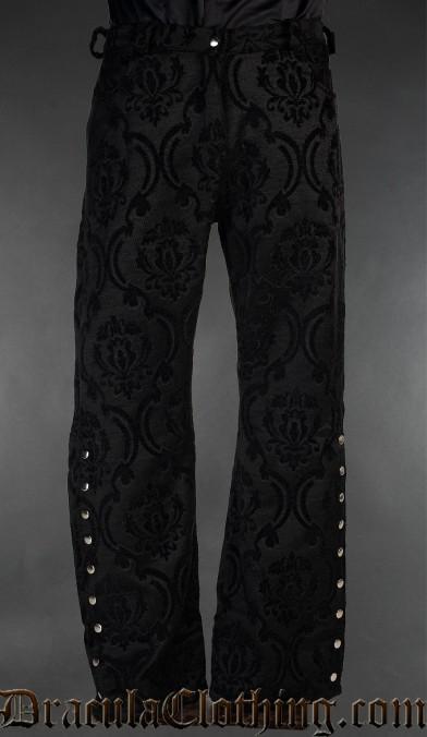 Black Brocade Officer Pants