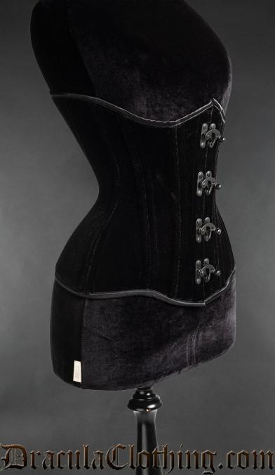 Black Clasp Velvet Extreme Waist Corset