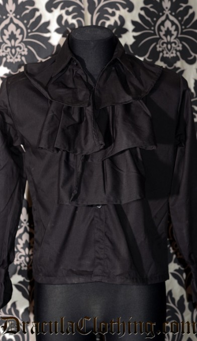 Black Cotton Cravat Shirt