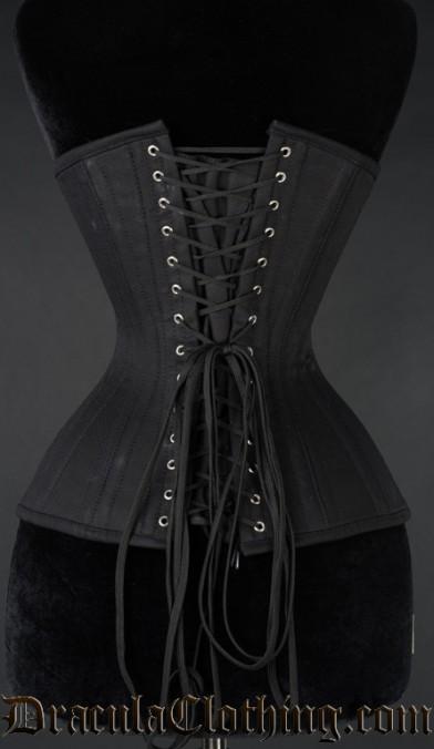 Black Cotton Longline Extreme Waist Clasp Corset