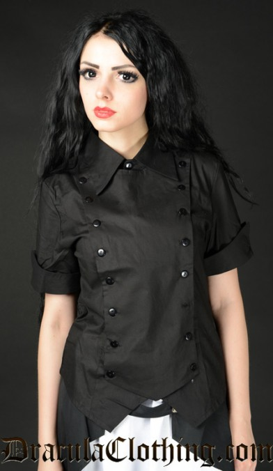 Black Cotton Panel Cravat Blouse