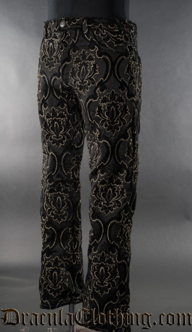 Black Jacquard Boots Pants
