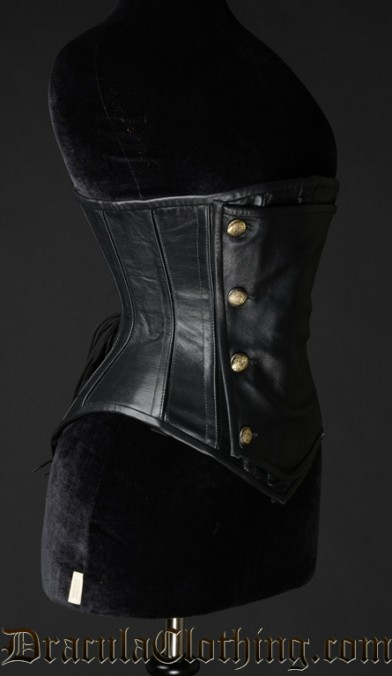 Black Leather Officer Corset