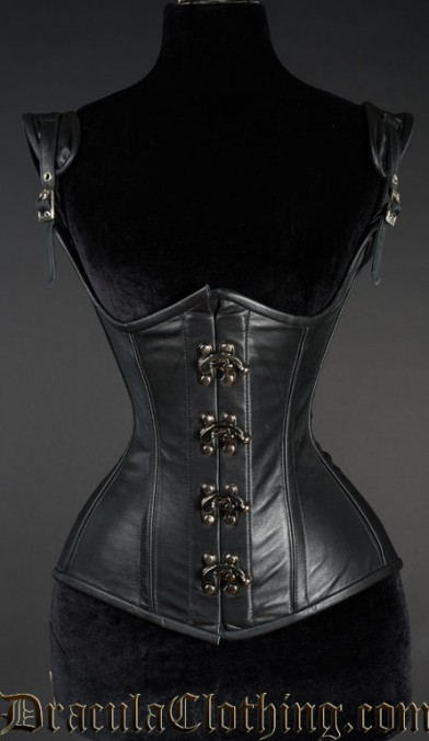 Black Leather Princess Clasp Corset