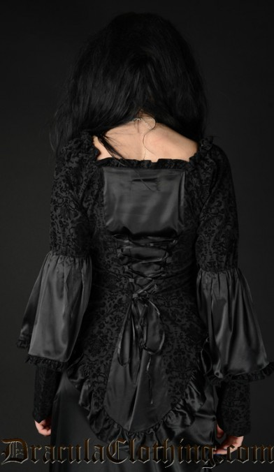 Black Satin Brocade Blouse