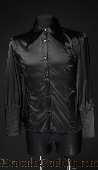Black Satin Cravat Shirt