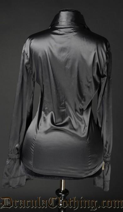 Black Satin Elegant Cravat Blouse