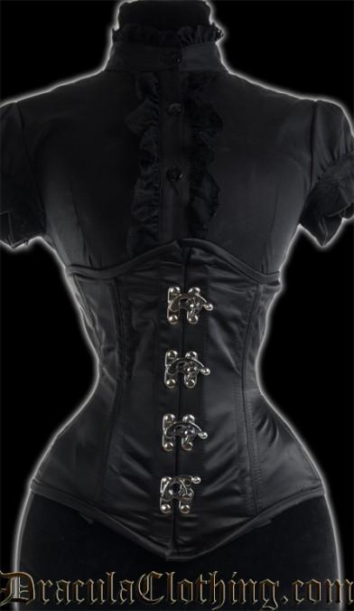 Black Satin Extreme Waist Clasp Corset