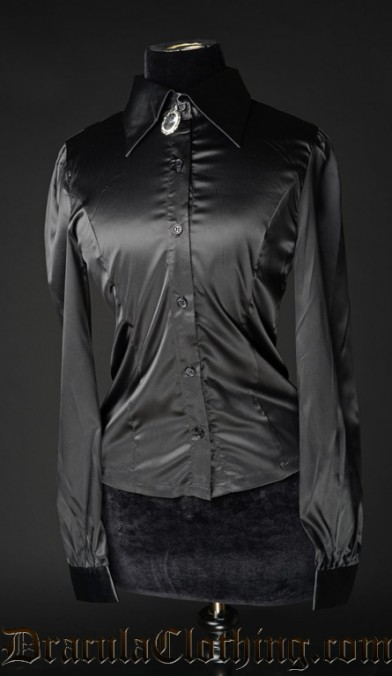 Black Satin Marquess Blouse