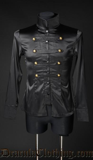 Black Satin Naval Shirt