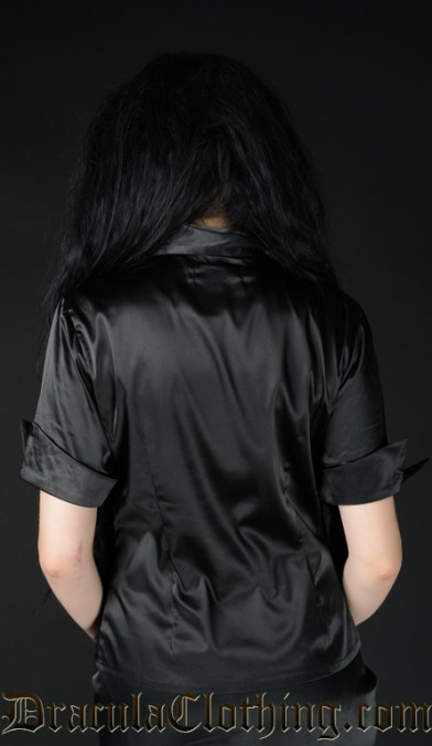 Black Satin Panel Cravat Blouse
