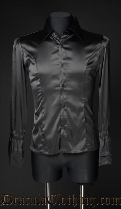 Black Satin Ruffle Shirt