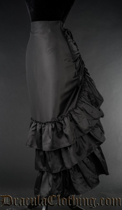 Black Satin Two Layer Bustle Skirt