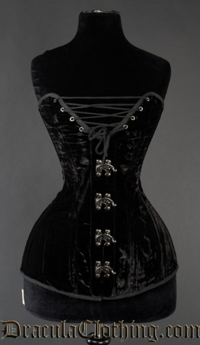 Longline Cleavage Velvet Overbust Clasp Corset