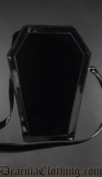 Black Velvet Coffin Bag