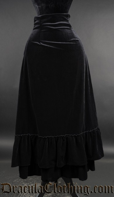 Black Velvet Two Layer Bustle Skirt