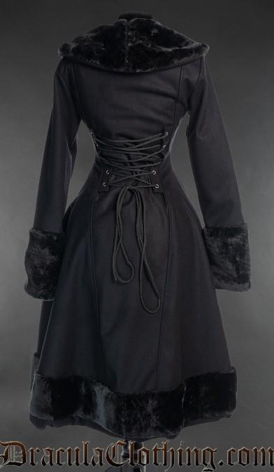 Black Wool Princess Coat