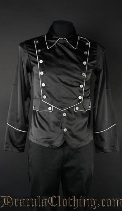 Black Satin Military Shirt