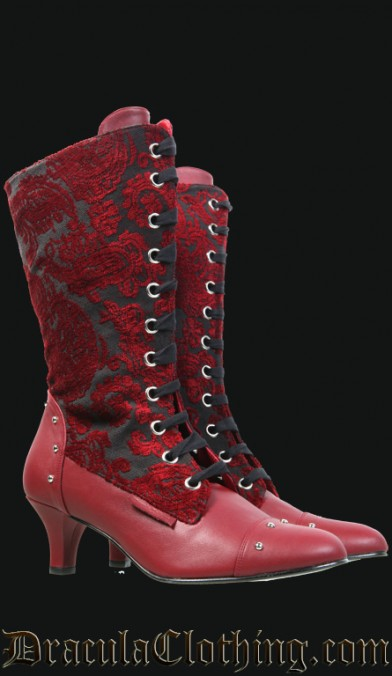 Blood Brocade Victorian Boots