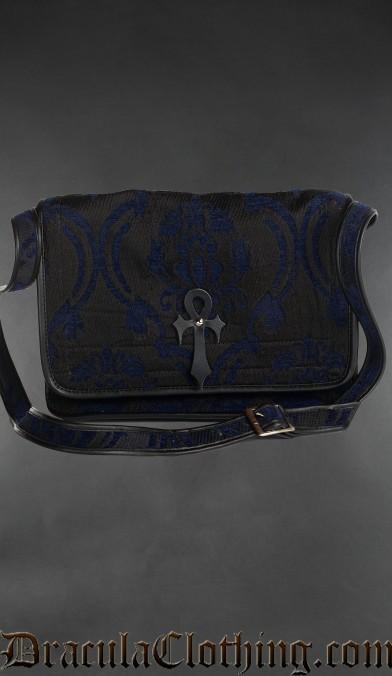 Blue Brocade Ankh Shoulder Bag