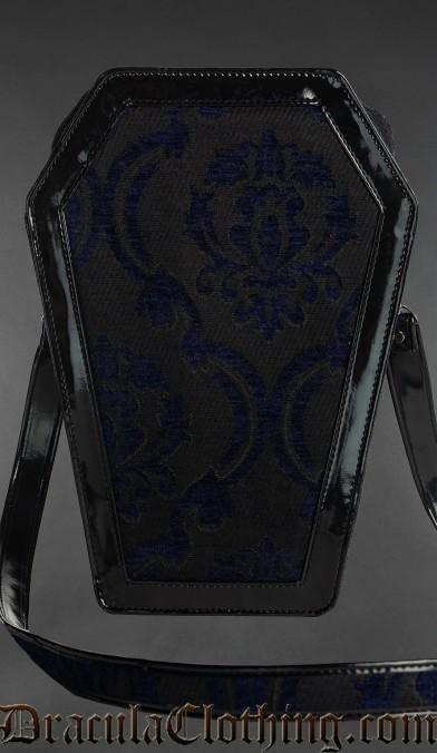 Blue Brocade Coffin Bag