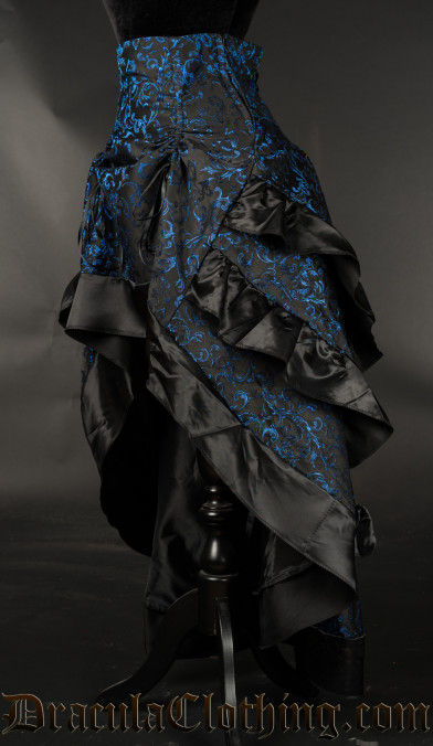 Blue Brocade Layer Bustle Skirt - Old Sizes