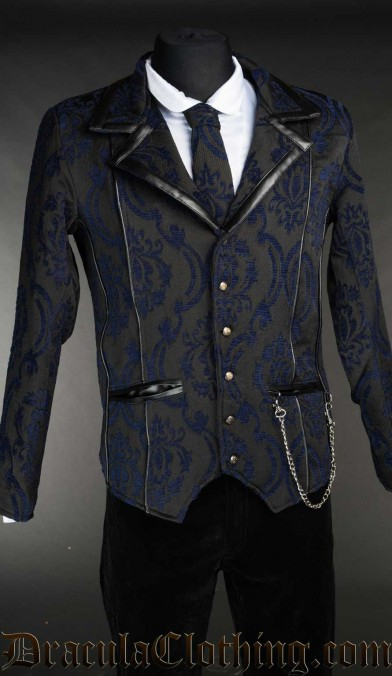 Blue Brocade Tesla Jacket