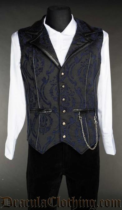 Blue Brocade Tesla Vest