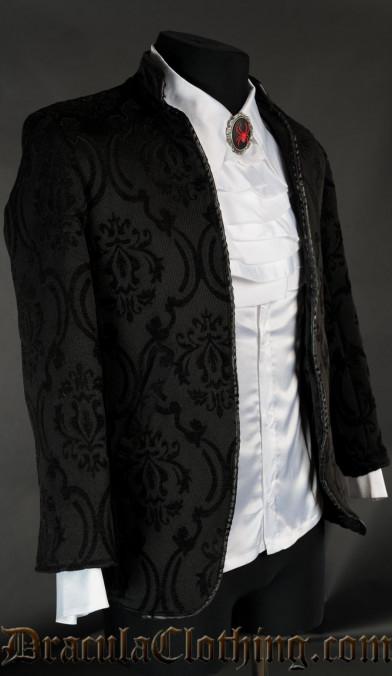 Black Brocade Nehru Jacket