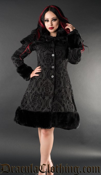 Black Brocade Thick Winter Coat