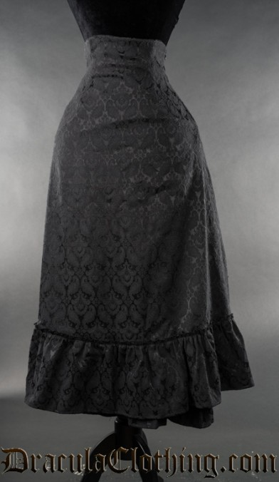 Black Brocade Two Layer Bustle Skirt