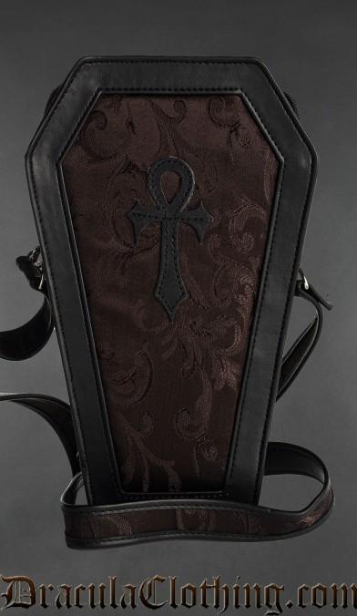 Brown Brocade Ankh Coffin Bag