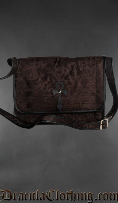Brown Brocade Ankh Shoulder Bag