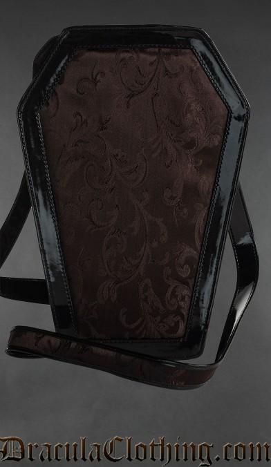 Brown Brocade Coffin Bag