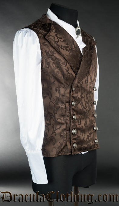 Brown Brocade Double Buttoned Vest